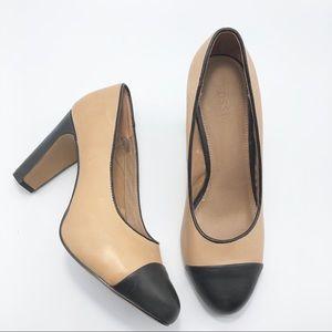 Fossil Monica Tan & Black Cap Toe chunky heel 7.5